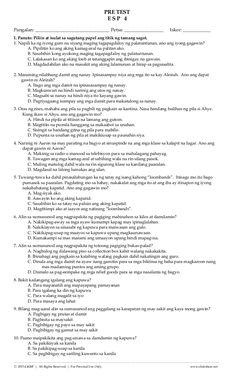 Diagnostic / Pre Test in ESP Grade 4 Third Grade Math, Grade 3, Classroom Rules, Classroom Decor, Wh Questions, This Or That Questions, Poster Rubric, Summative Test, 2nd Grade Worksheets