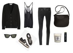 very nice weekend assemblage. Equipment cardigan / Cheap Monday tank / Helmut Lang jeans / Alexander Wang bag / Ray-Ban sunglasses / Astier de Villate candle / Golden Goose sneakers.        Pinning made easy! http://www.pinny.co Pin any photo in any website with a click.