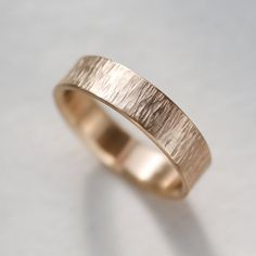 5x1.5 mm Men's Wood Texture Wedding Ring Rustic by AideMemoire
