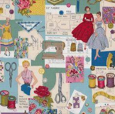 Makower - Sew Retro Montage - cotton fabric