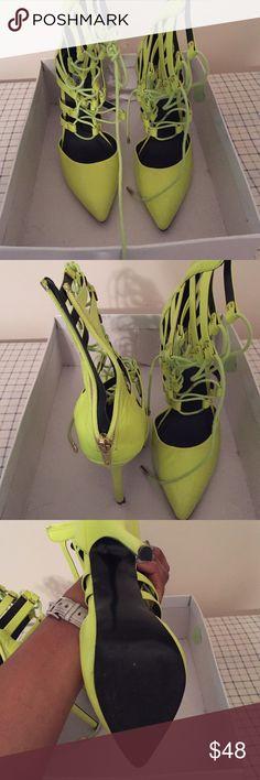 "Steven Madden Heels Neon heels, size 7.5, worn once. Steve Madden Keyonna Graham ""STA YLW"" Steve Madden Shoes Heels"