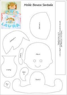 Molde de bonecas - Ver e Fazer Fabric Doll Pattern, Fabric Dolls, Felt Patterns, Craft Patterns, Star Diy, Presents For Kids, Felt Baby, Felt Decorations, Sewing Dolls