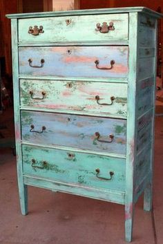 Sunset colors on shabby chic dresser by Sally Hazlett #shabbychicdresserscolors #shabbychicfurnituredresser