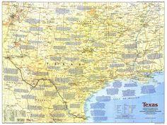 USA - Texas (1986) National Geographic Maps, Vintage World Maps, Texas, Usa, Geography