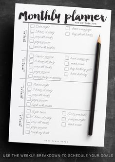 Monthly Goal Planner 2016 PRINTABLE Monthly by IndigoPrintables