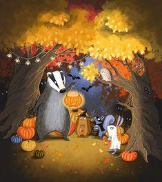 The woodland animals gather to celebrate Halloween. Cute children's illustration by Emma Allen. Emma Allen, Halloween Illustration, Woodland Animals, Cute Kids, Illustrator, Children, Painting, Book, Art