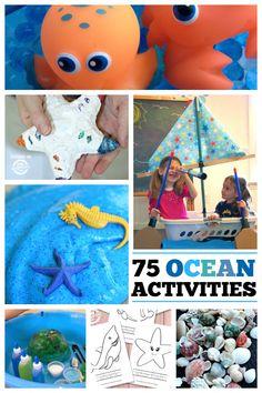 75 Ocean-Activities for kids Ocean Activities, Summer Activities For Kids, Family Activities, Learning Activities, Preschool Activities, Crafts For Kids, Ocean Crafts, Ocean Themes, Summer Crafts