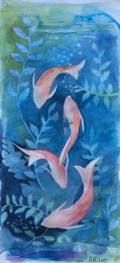Fishes in blue, water color