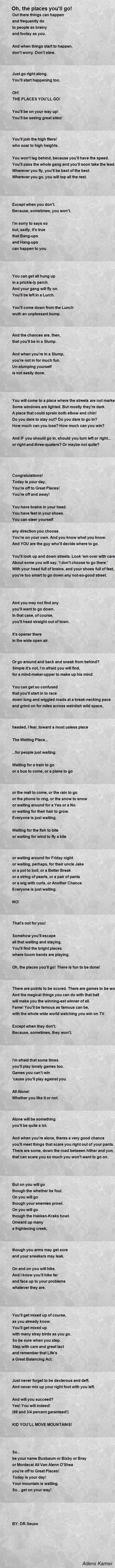 Dr Seuss - Oh, the Places Youu0027ll Go! (Part II) I would be ok if - valedictorian speech examples