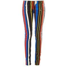 BALMAIN Striped skinny biker jeans ($1,215) ❤ liked on Polyvore