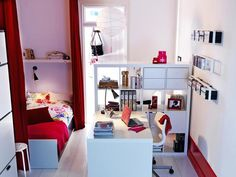 Create a privacy barrier in a small space by adding a bookcase or floor-to-ceiling curtains. www.hgtv.com/decorating-basics/dorm-room-design-18-stylish-and-functional-college-spaces/pictures/page-16.html?soc=pinterest