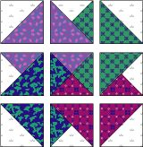 Easy Card Trick pattern, using charm pack sized squares