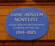 Plaque,Hans Place, London, where Jane Austen visited her brother Henry. Image @Tony Grant