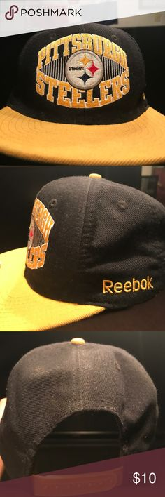 NFL Pittsburgh Steelers Snapback Hat Reebok Black & Yellow/ Reebok/ NFL/ Pittsburgh Steelers Reebok Accessories Hats