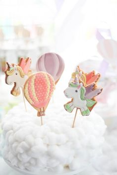 Cookies on sticks from a Hot Air Balloon + Unicorn Birthday Party via Kara's Party Ideas | KarasPartyIdeas.com (16)