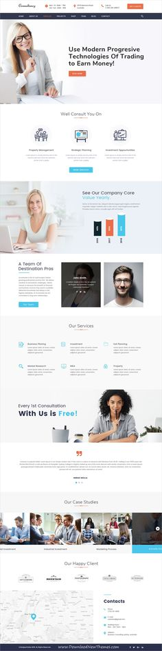 Beautiful clean and modern design #PSD template for #consulting business #website with 16 layered #PSDfiles to live preview & download click on image or Visit
