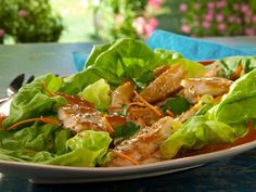 Smoked Trout Lettuce Wraps with Meyer Lemon Dressing and Carrots recipe from Bobby Flay via Food Network Carrot Recipes, Fish Recipes, Seafood Recipes, Dinner Recipes, Healthy Dishes, Healthy Eating, Healthy Recipes, Healthy Food, Food Network Recipes