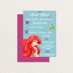 Girl Birthday Invitation, Ariel Little Mermaid Birthday Girl Invitation,Baby Girl Birthday Invitations, Birthday Party Invitations Printable by S4StarSbySiSSy on Etsy https://www.etsy.com/ca/listing/485854625/girl-birthday-invitation-ariel-little
