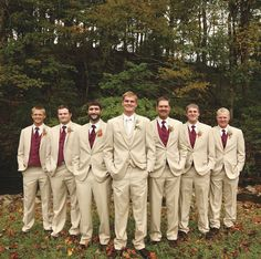 Groom and groomsmen in khaki suits with deep red vests. See more from this Nashville wedding inspiration with a fall theme by @cjones8790! | The Pink Bride www.thepinkbride.com