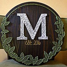 String Art Mongram sign with leaf wreath made to order with date. Nail and String Art, Gallery Wall Decor 18 Diameter! String Art Mongram sign with leaf wreath made to order with date. Nail and String Art, Gallery Wall Decor 18 String Art Letters, String Art Diy, Wedding String Art, String Art Patterns Letters, String Art Tutorials, String Crafts, Wedding Art, Wedding Nails, Wedding Ideas