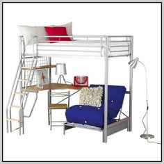 Innovative Glossy Bunk Beds with Desk and Blue Sofa Design from Metal Material beside