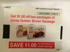 Jones Golden Brown Sausage ~ 11/08/2014 ~ $1.00 on TWO (2) ~ (10)