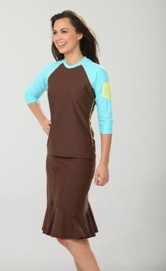 Long Brown Swim Skirt #Modest #Swimwear #Skirt,would I look silly swimming in this outfit !!!