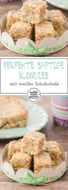 saftiger kinder Great recipe for juicy, luscious and creamy blondies with white chocolate. The blondies can be baked with colored sprinkles or macadamia nuts. Cake Recipes, Dessert Recipes, Blondie Brownies, Recipe 21, Sweet Bakery, Cake & Co, Brownie Bar, Chocolate Desserts, Cake Cookies