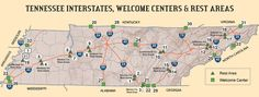 Map of Tennessee Welcome Centers and Rest Areas