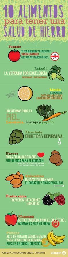 10 alimentos para tener una salud de hierro http://blog.saluspot.com/10-alimentos-salud-hierro/ https://www.saluspot.com/