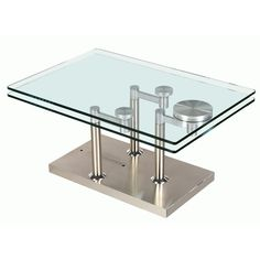 Chintaly Avery Motion Cocktail Table - An adjustable modern beauty, the Chintaly Avery Motion Cocktail Table opens up opportunity. This cocktail table has a brushed steel base and two t...