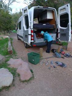 Brittany Griffith unloading the Gypsy Van - a 2010 Sprinter camper van. Sprinter Camper, Truck Camper, Benz Sprinter, Sprinter Van Conversion, Camper Conversion, Homemade Camper Van, Van Dwelling, Vanz, Adventure Campers