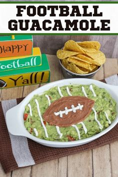 Homemade guacamole is a big game must have. This easy guacamole football recipe makes a perfect snack for the big game or any game! Game Day Appetizers, Game Day Snacks, Game Day Food, Appetizer Recipes, Snack Recipes, Game Recipes, Picnic Recipes, Thanksgiving Appetizers, Picnic Foods