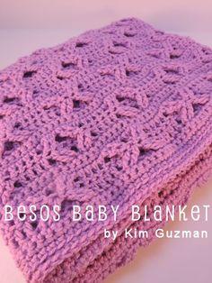 **Love the Kisses & Hugs in the pattern / This site has MANY patterns & tutorials** Besos Baby Blanket By Kim Guzman - Free Crochet Pattern - (crochetkim)