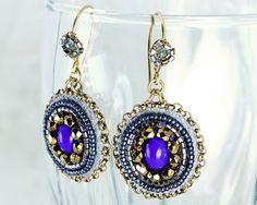 Purple earrings statement jewelry - blue gold dangling earrings fall winter beaded drop earrings unique valentine gift