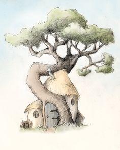 Whimsical Tree Giclée Print by Gatet on Etsy, $20.00