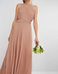 Image 3 ofTFNC WEDDING High Neck Pleated Maxi Dress