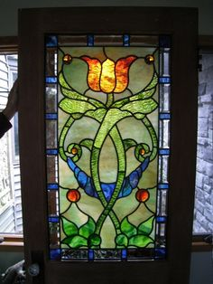 Stained glass tulip panel