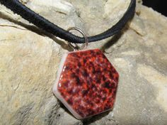 Found Object Vintage Red Ceramic Tile Necklace by stevenssteampunk