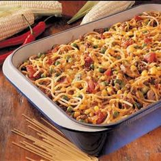 Church Supper Spaghetti (Use a can of Cheddar Cheese Soup in place of 1 cup of cheese) I used taco seasoning instead of chili powder Church Potluck Recipes, Potluck Dishes, Supper Recipes, Pasta Dishes, Food Dishes, Potluck Ideas, Main Dishes, Supper Ideas, Spaghetti Casserole