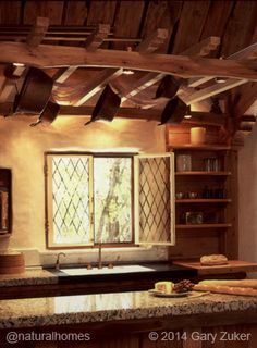 Natural Home Tenth Anniversary: Natural Home of the Decade: A Hobbit House Cob House Kitchen, Cozy Kitchen, Kitchen Windows, Rustic Kitchen, Cob Building, Tadelakt, Live In Style, Natural Homes, Earth Homes