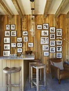Like the photo wall. Would have to do fun family/friend times and masculine themes.