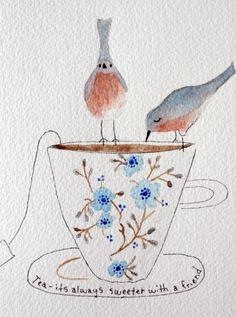 Tea cup and birds original watercolor friends love by TerraBlueArt, $27.00
