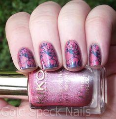 Gold Speck Nails: Kiko - Jewel Pink Holo & Sally Hansen Insta-Dri - TealyFast Stamping