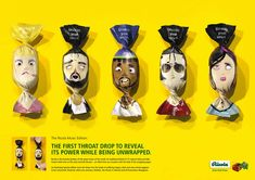 Ricola cough drops packaging via the Dieline! These character designs are GREAT. So funny.