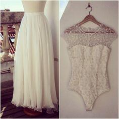 Vestido noiva (saia em chiffon de seda e body em renda)