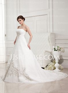 A-Line/Princess Strapless Cathedral Train Chiffon Wedding Dress With Embroidery Ruffle (002011763) - JJsHouse