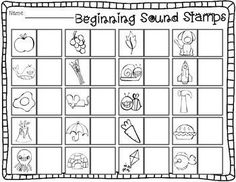 Sensational Stamps: Alphabet, rhyming, beginning, middle, & ending sounds Kindergarten Language Arts, Kindergarten Centers, Preschool Literacy, Teaching Kindergarten, Teaching Reading, Beginning Sounds Kindergarten, Free Kindergarten Worksheets, Literacy Activities, Teaching Resources