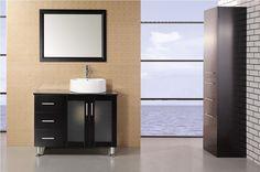 "Malibu 36"" Single Sink Modern Bathroom Vanity Set In Espresso"
