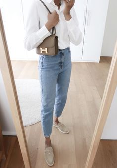 Classic Outfits, Simple Outfits, Chic Outfits, Fashion Outfits, New Look Mom Jeans, Look Formal, Summer Work Outfits, Outfit Combinations, Elegant Outfit